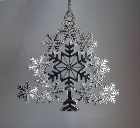 Silver Filigree Large Christmas Tree with Rhinestones - Xmas Tree Decoration